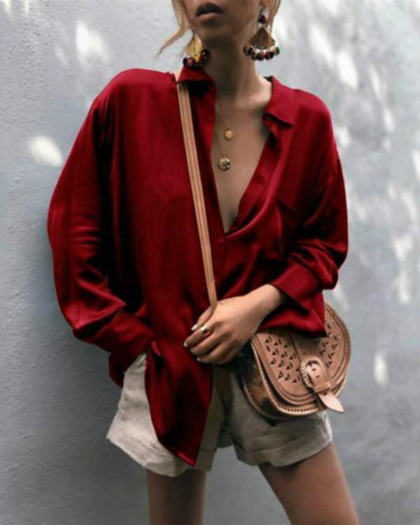 Spring Fashionable V-neck Long Sleeve Shirts Blouses