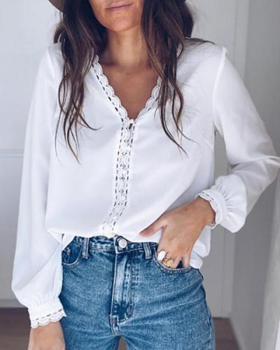 Women Solid Lace Button Casual Long Sleeve Shirts Blouses