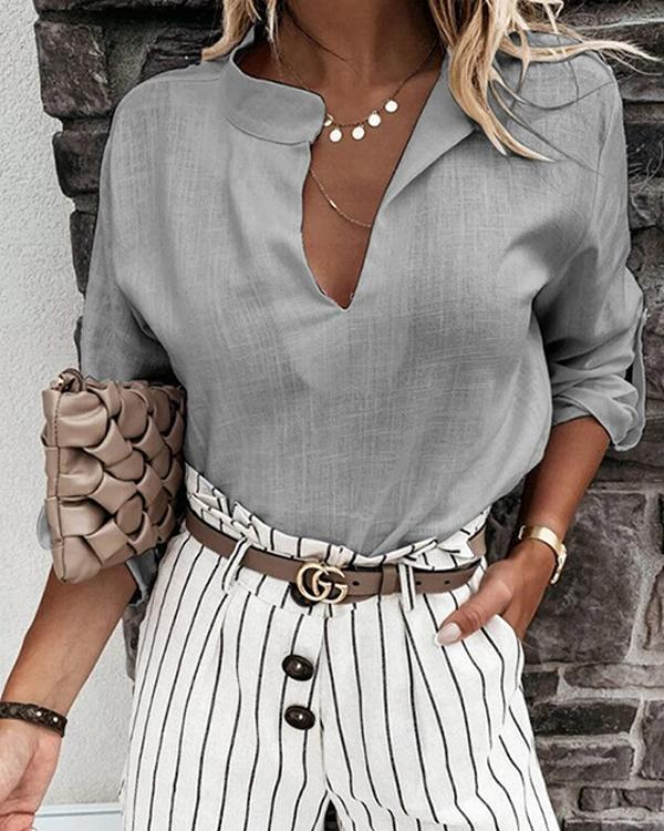 Casual Solid Linen Cotton Paneled V-neck Long Sleeves Blouse