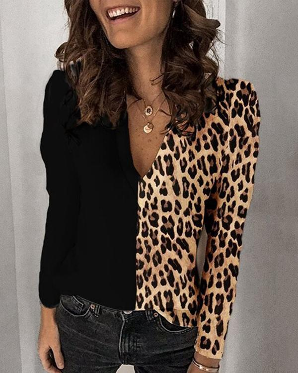 Women Leopard Print Casual Long Sleeve Shirts