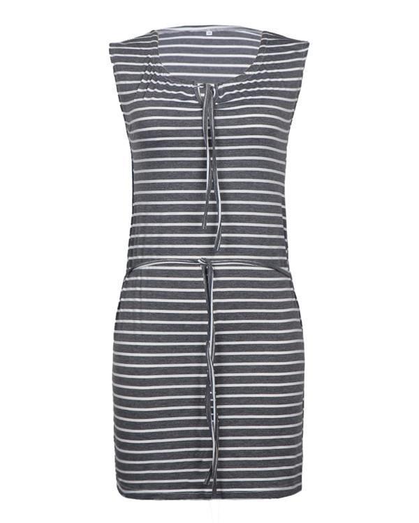 Sleeveless Striped Women Summer Casual Holiday Mini Dress