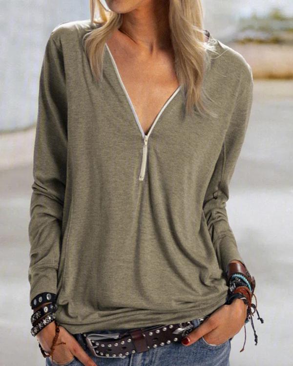 Plus Size Casual Daily Zipper T-shirt