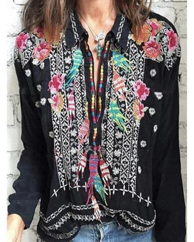 Stand Collar Long Sleeve Flower Embroidered Plus Size Blouses Tops