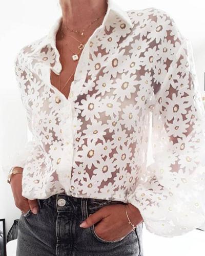 Modern See-through Floral Print Folding Collar Puff Sleeves Shirt