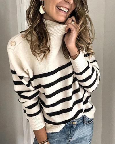 Women's Casual Striped Turtleneck Sweater