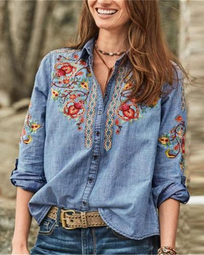 Vintage Embroidered Turn-down Collar Button Denim Blouse
