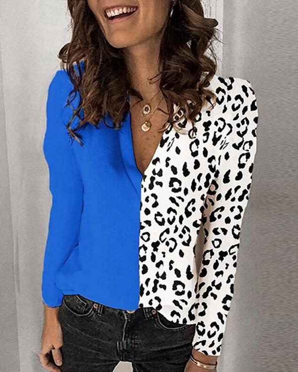 Women Leopard Print Casual Long Sleeve Shirts Blouses