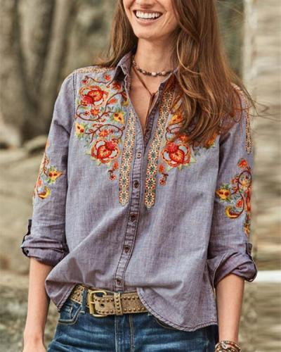 Vintage Embroidered Turn-down Collar Button Denim Blouse