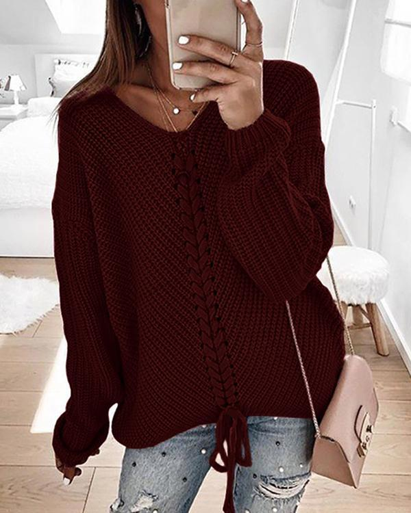V-Neckline Solid Casual Loose Lace up A-line Sweaters