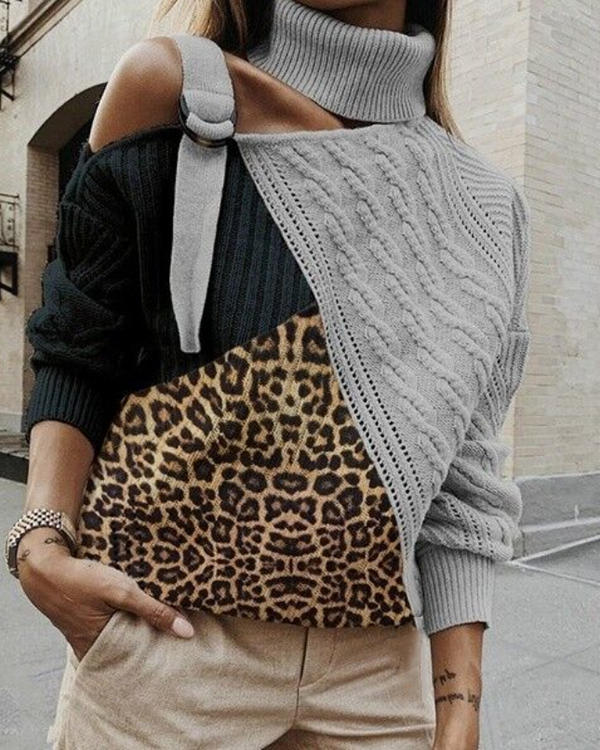 2019 Fashion Leopard Print High Neck Splicing Sweater