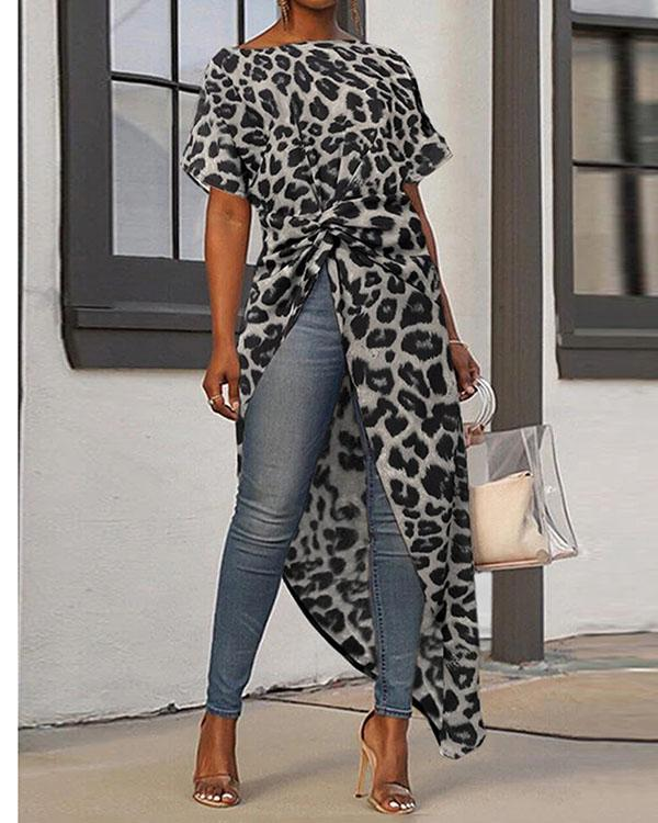 Women Loose High Low Tops Leopard Print Casual Shirts