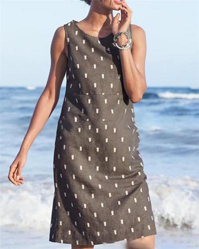 Sleeveless Printed Beach Holiday Daily Fashion Mini Dresses