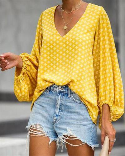 V Neck Lantern Sleeve Women Holiday Daily Blouse