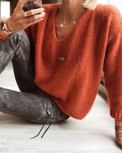 Casual V Neck Plain Sweater