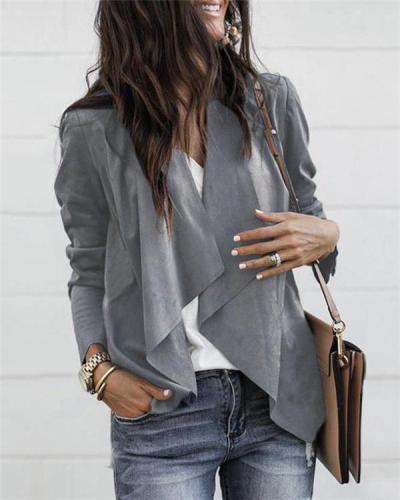 Shawl Neck Women Fall Solid Fashionable Outwear Coat