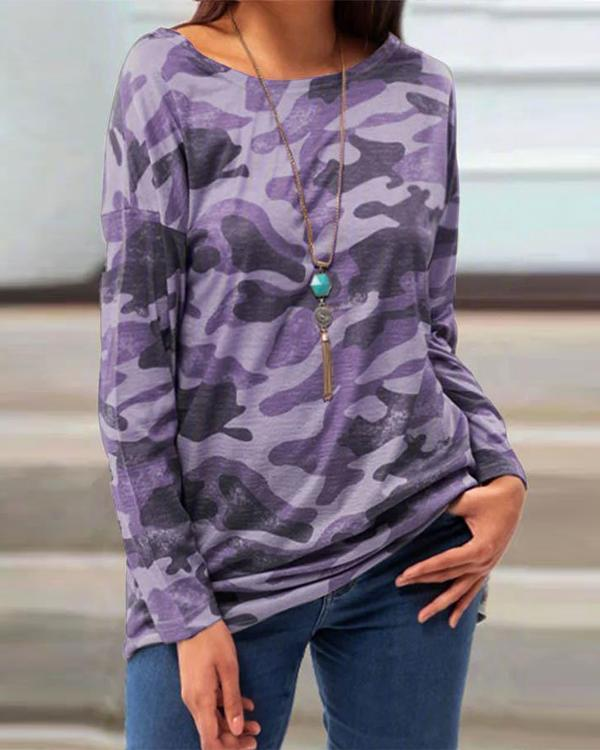 Plus Size Camo Round Neck Long Sleeve Casual Loose Fit T-shirt