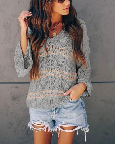 Solid Loose Sleeve Knitwear Women Casual Printed Shirt &Tops