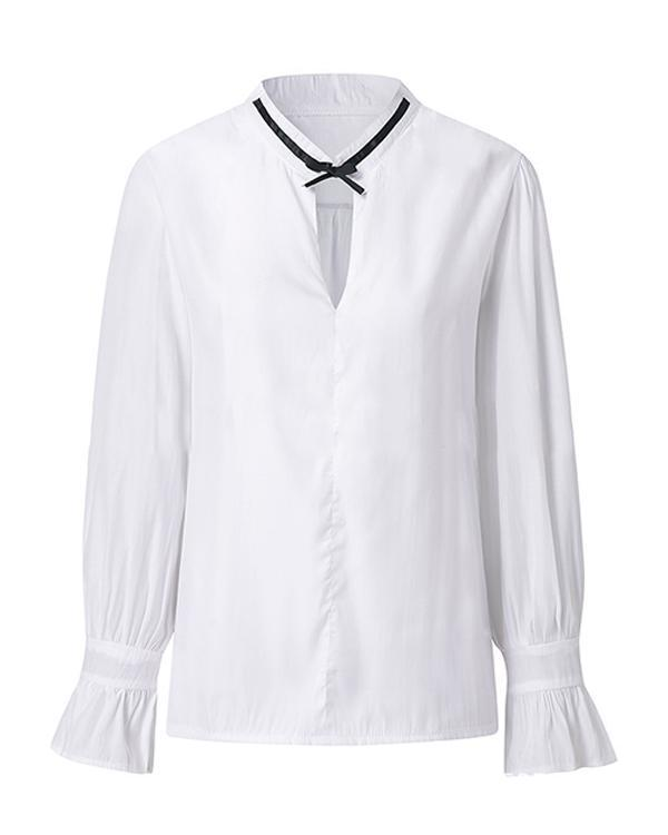Casual Vintage Bow Tied Long Sleeves Blouse