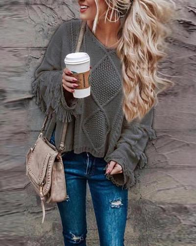 Tassel Solid Color Fashion Sweater