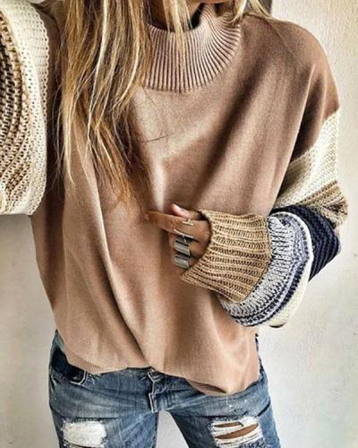 Khaki Crew Neck Long Sleeve Tops