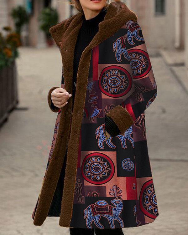 Vintage Print Fleece Hooded Winter Plus Size Long Coat