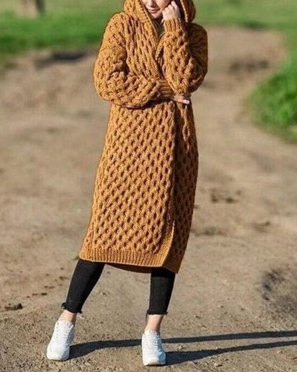 2019 Women's Fashion Winter Warm Long Knit Sweater Hooded Cardigan Coat