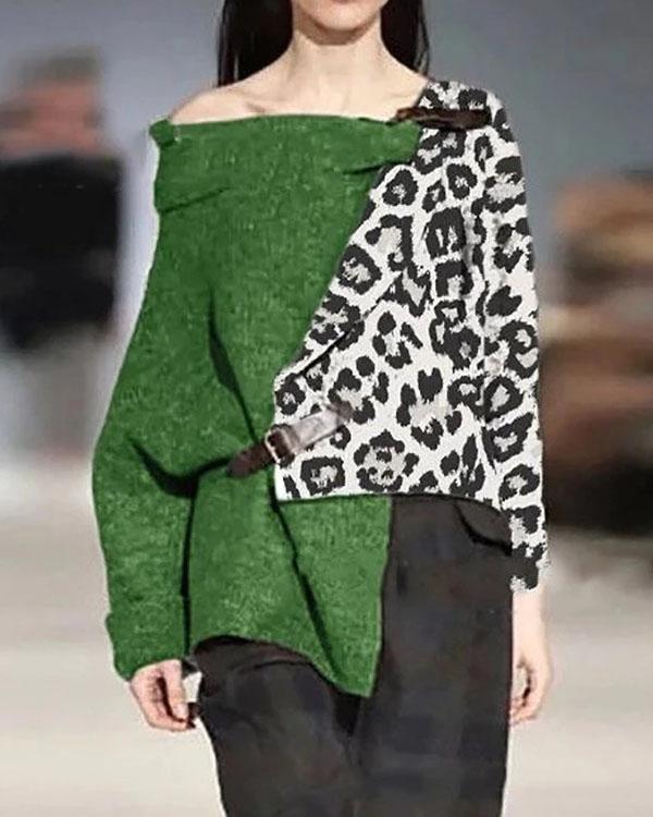 Leopard Printed Long Sleeve Irregular Sweater