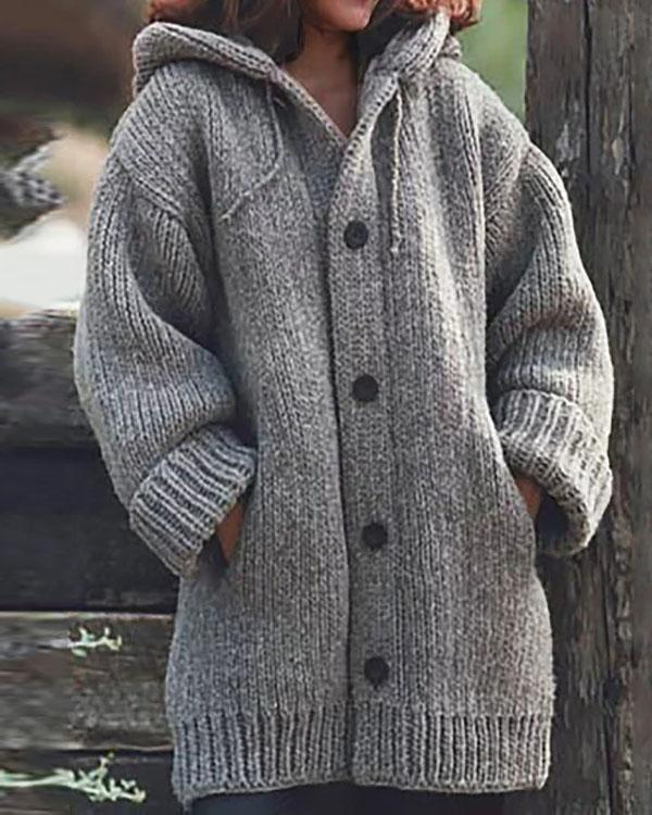 Button Down Hooded Knitted Cardigan Plus Size Outerwear