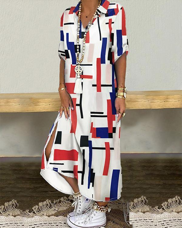 Plus Size Print Paneled 3/4 Sleeves Casual Slit Maxi Shirt Dress