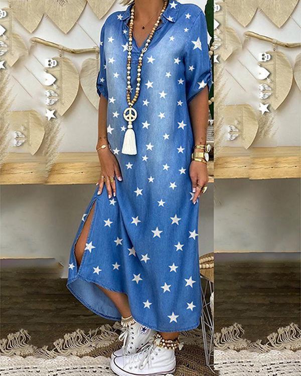 Plus Size Print Paneled 3/4 Sleeves Casual Slit Maxi Shirt Dress
