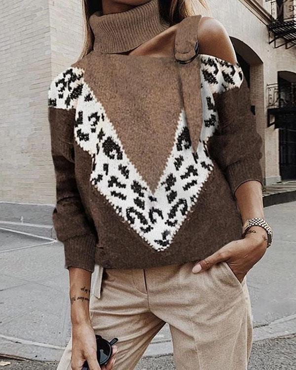 Women Fashion Leopard Print High Neck Sweater