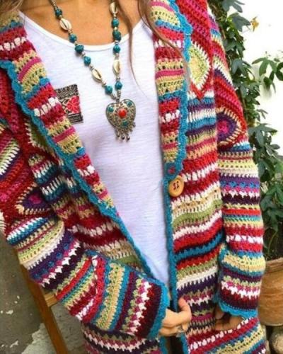 Winter Loose Multicolor Vintage Print Ethnic Cardigan Sweater Coat