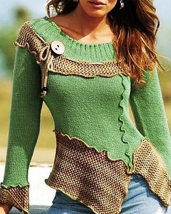Fashion Slim Color Block Knit Sweaters