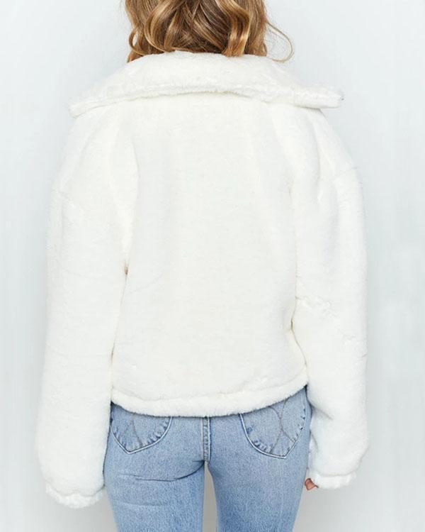 White Faux Angora Bomber Jacket