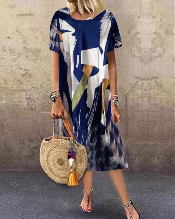 Casual Color Block Tunic Round Neckline Shift Dress