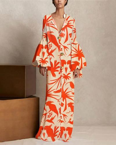 Women Orange Elegant Maxi Dress