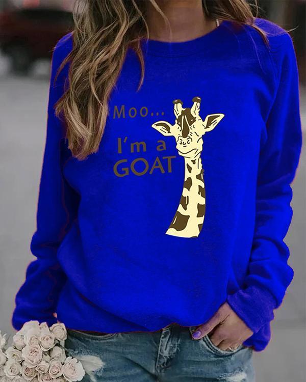 Animal Letter Print Pullover Round Neckline Sweatshirts