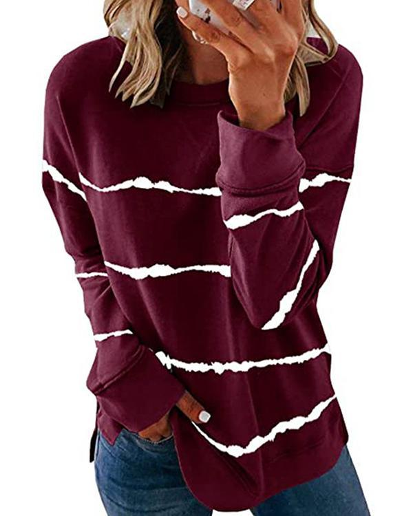 Plus Size Retro Tie-dye Striped Long-sleeved T-shirts