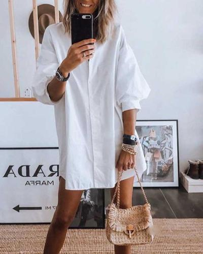 Puff Sleeve Plain Casual Loose Shirt Dress