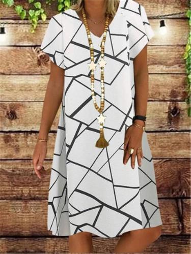 Women Casual V-Neck Irregular Cross Line Print Short Sleeve Summer Dress