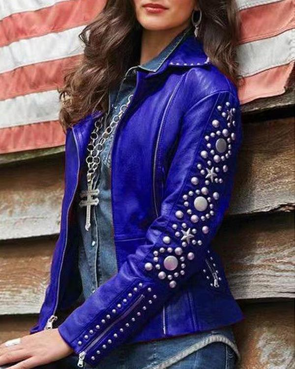 Rock Jacket Women Punk Hip Hop Ladies Lapel Zip Fashion Jackets