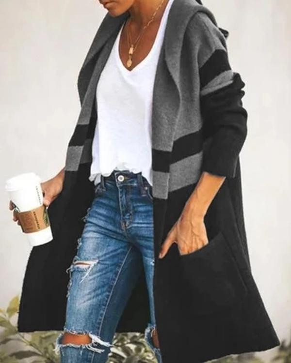 Casual Knitted Patchwork Color-Block Outerwear