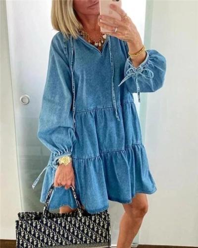 Fashion Casual Pure Gored Long sleeve V Neck Shift Dresses