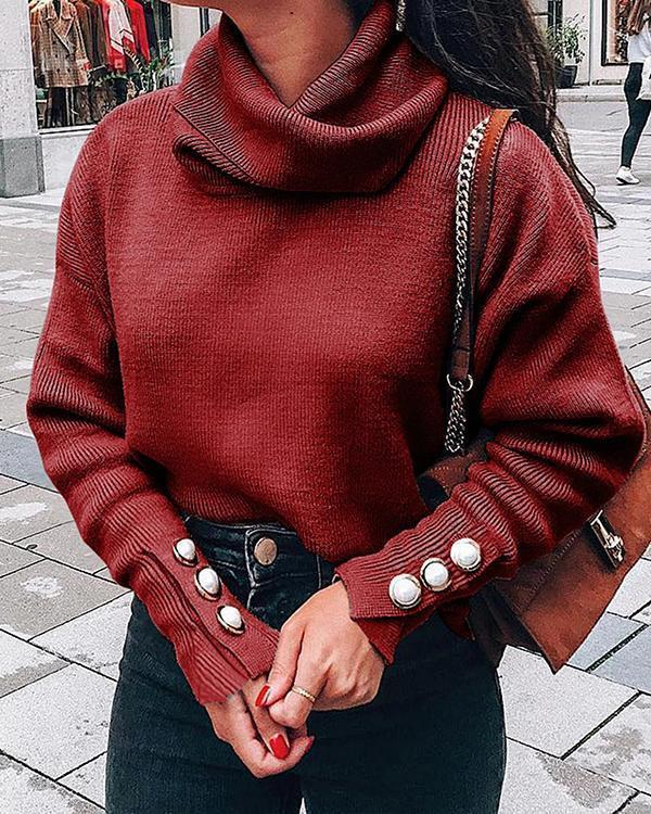 Casual Plain Turtleneck Knitted Long Sleeve Sweater