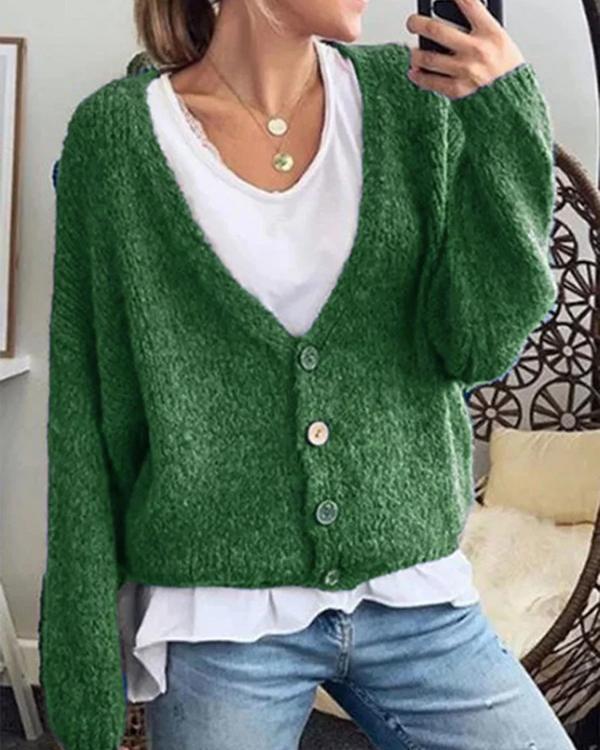 Cotton-Blend Long Sleeve Plain V Neck Outerwear