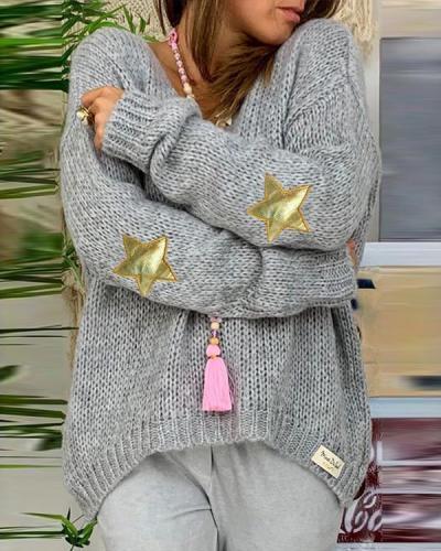 Daily V-Neck Long-Sleeved Sweater