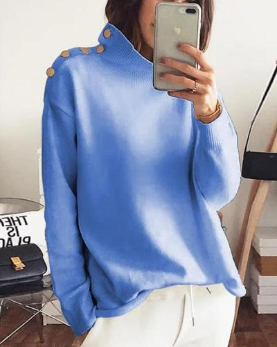 Plus Size Solid Shirts Buttoned Stand Collar Long Sleeve Tops