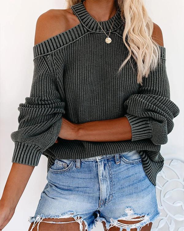 Solid Color Halter Knitting Long Sleeve Off Shoulder Sweater