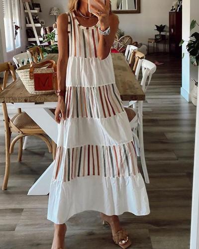 Casual Round-Neck Sleeveless Striped Maxi Dress