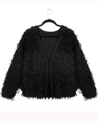 Women Casual Plain Embellished Outerwear